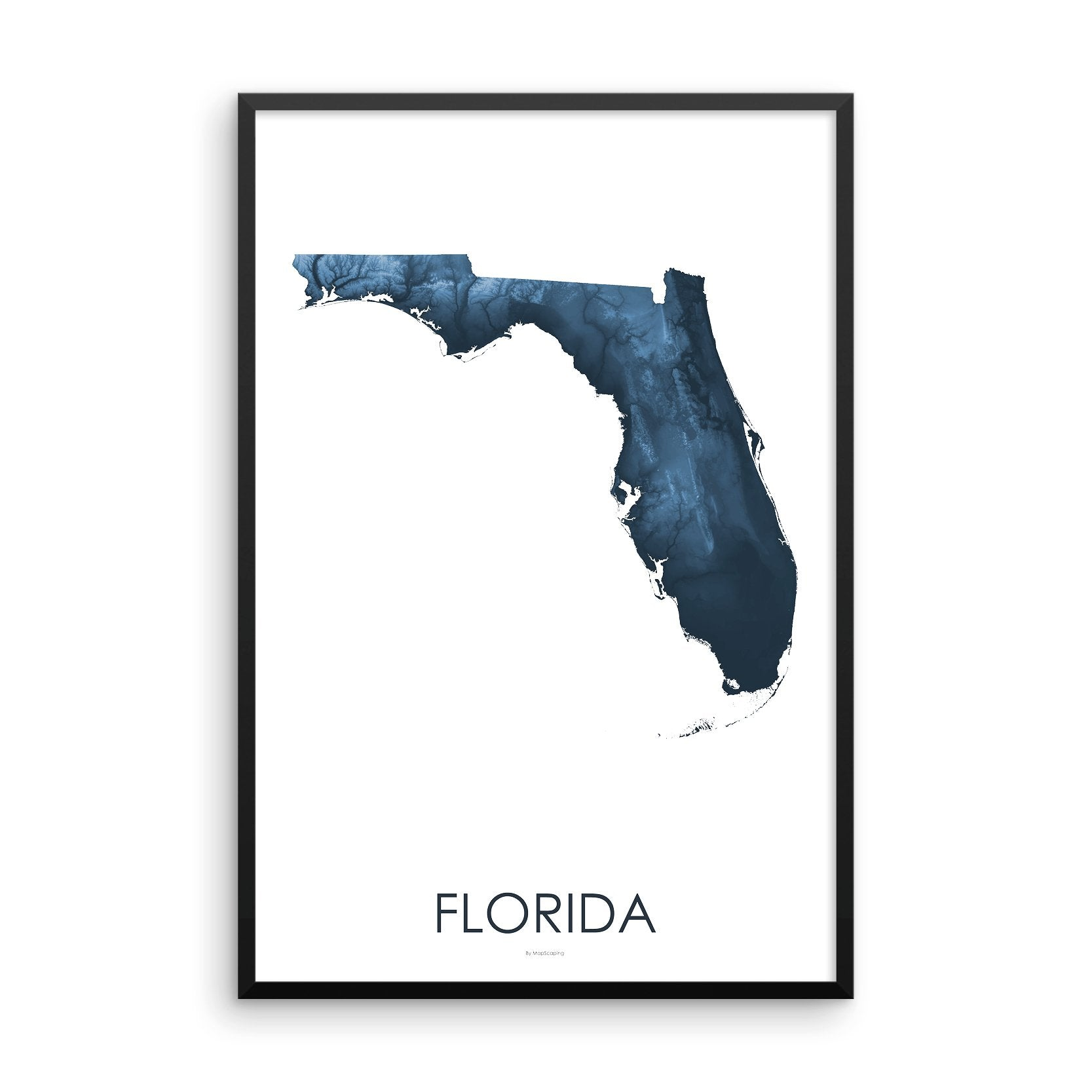 Florida Map Midnight Blue-Topographic Map