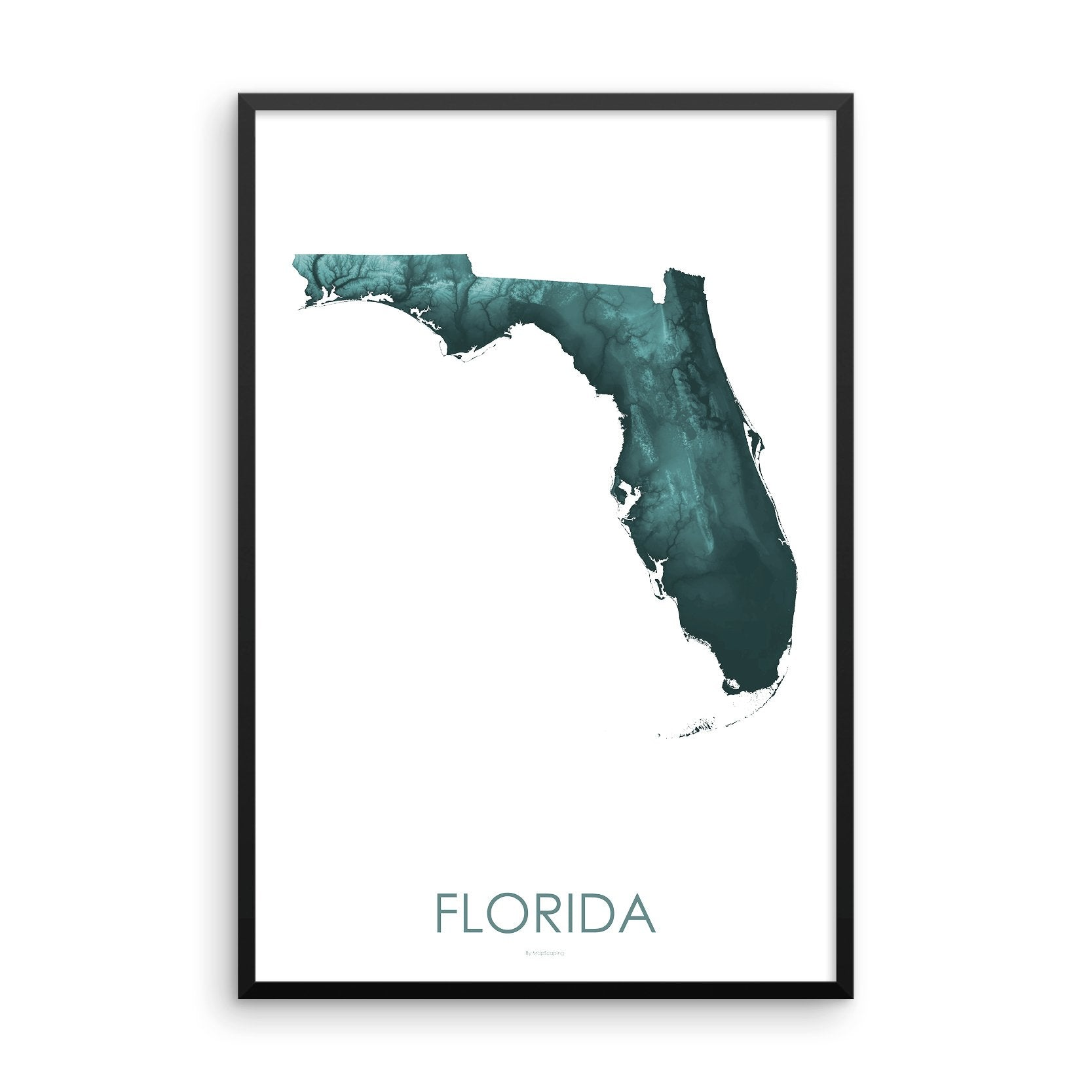 Florida Map Teal-Topographic Map
