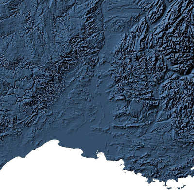 France Map 3D Midnight Blue-Topographic Map