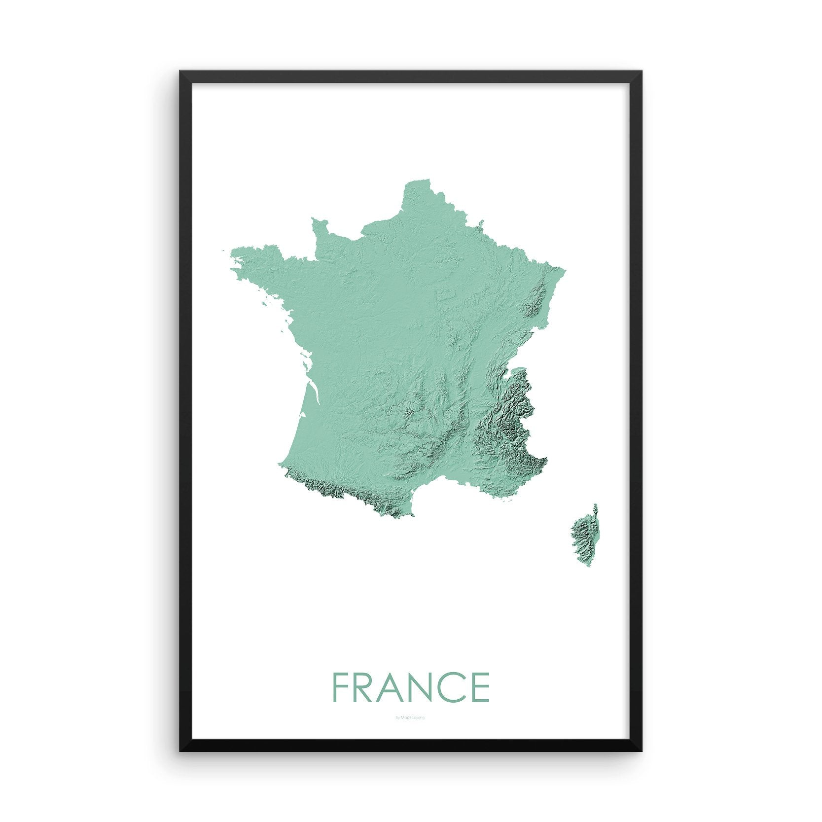 France Map 3D Mint-Topographic Map