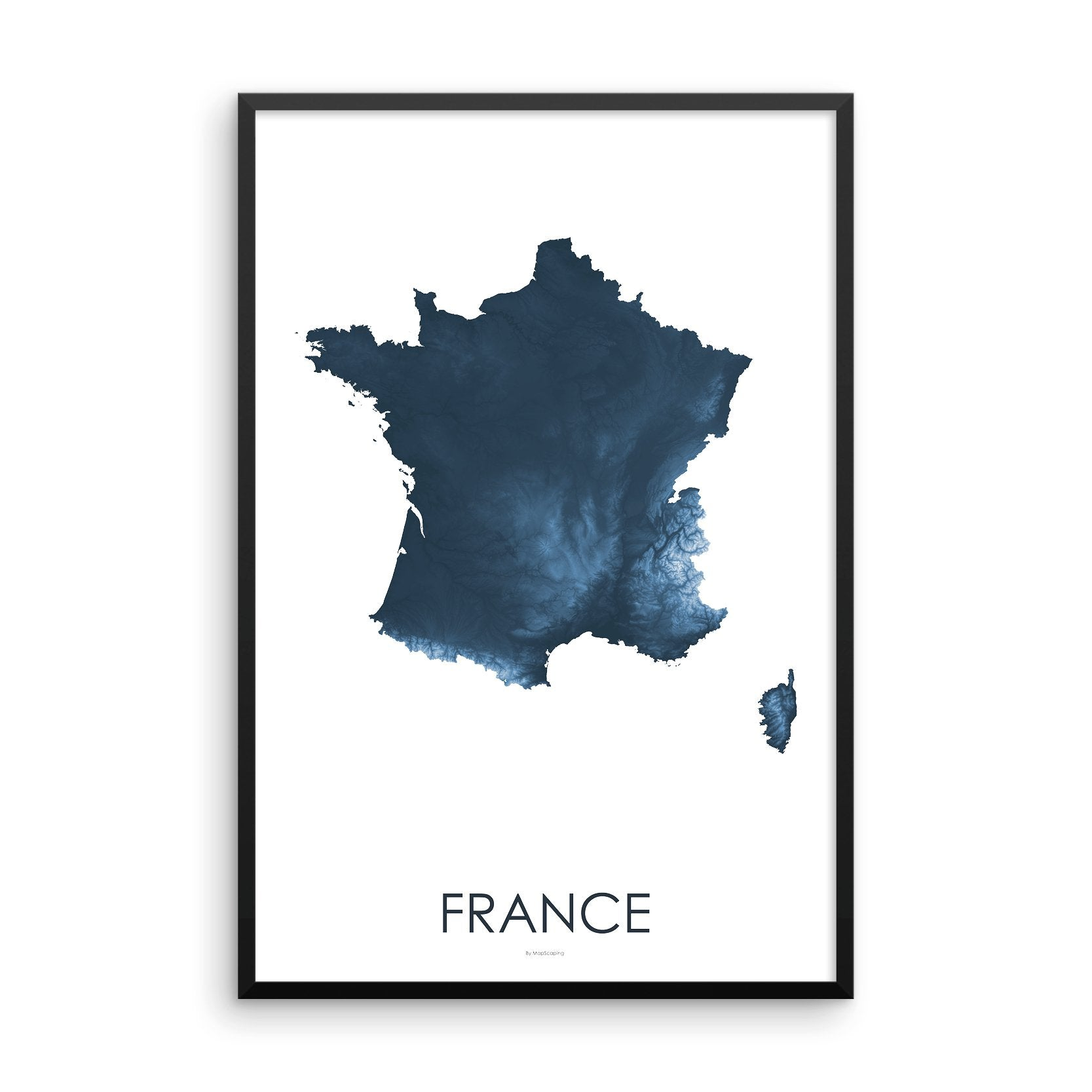France Map Midnight Blue-Topographic Map
