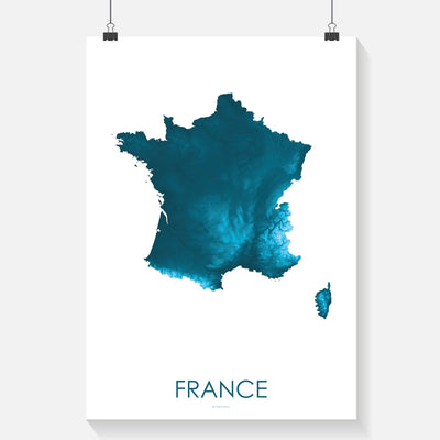 France Map Petroleum Blue-Topographic Map