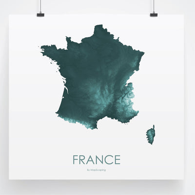 France Map Teal-Topographic Map