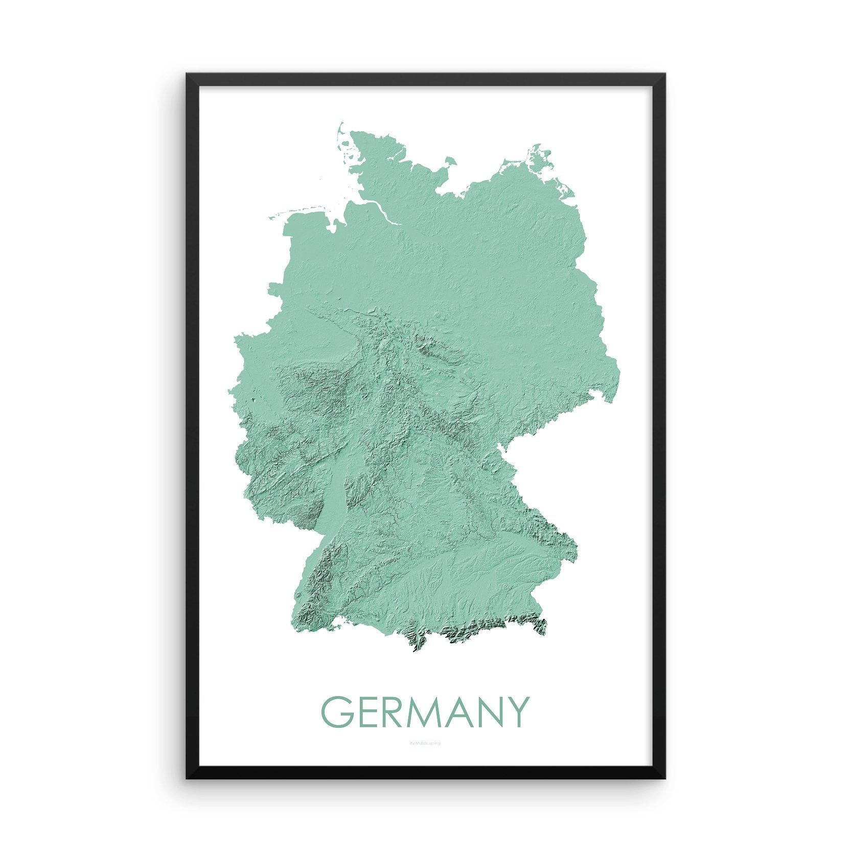 Germany Map 3D Mint-Topographic Map