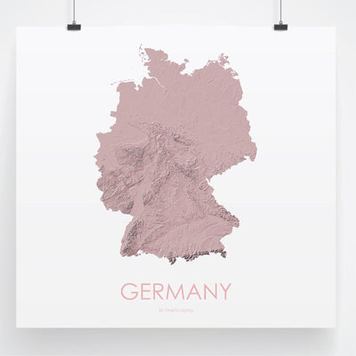 Germany Map 3D Rose-Topographic Map