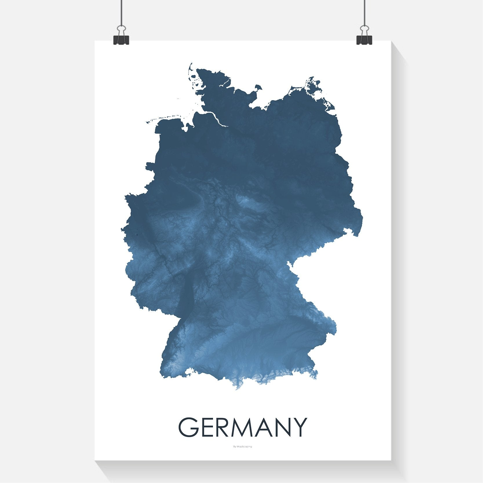 Topographic Map Germany.Germany Topographic Wall Art Map Mapscaping Com Topographic Map Art