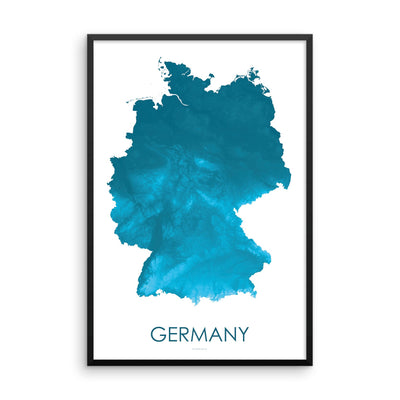 Germany Map Petroleum Blue-Topographic Map