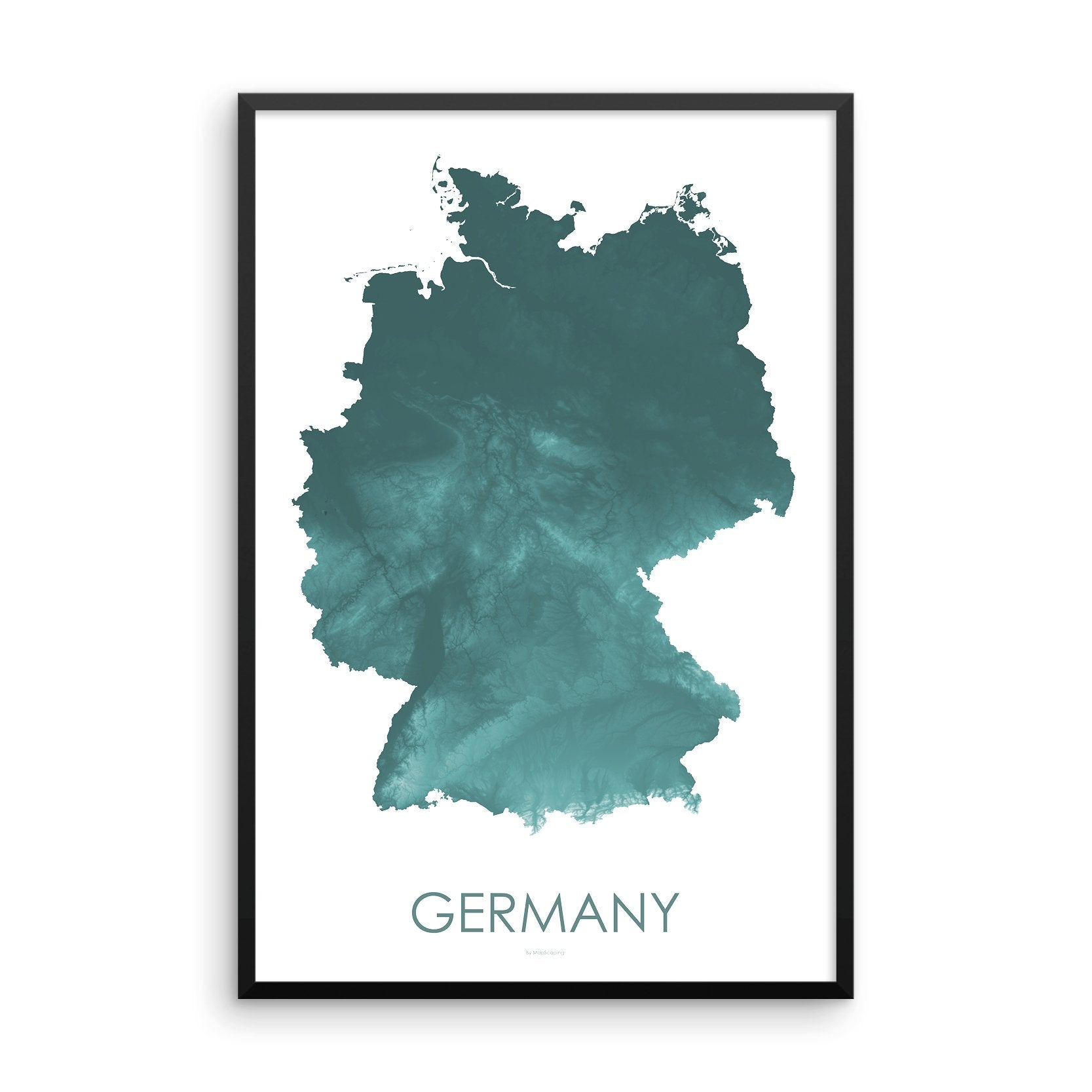 Germany Map Teal-Topographic Map