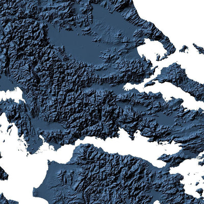 Greece Map 3D Midnight Blue-Topographic Map