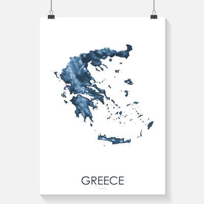 Greece Map Midnight Blue-Topographic Map