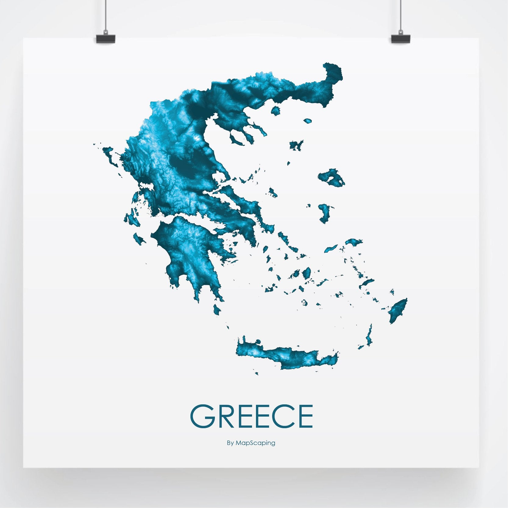 Greece Poster Petroleum Blue Topographic Map Art By Mapscaping