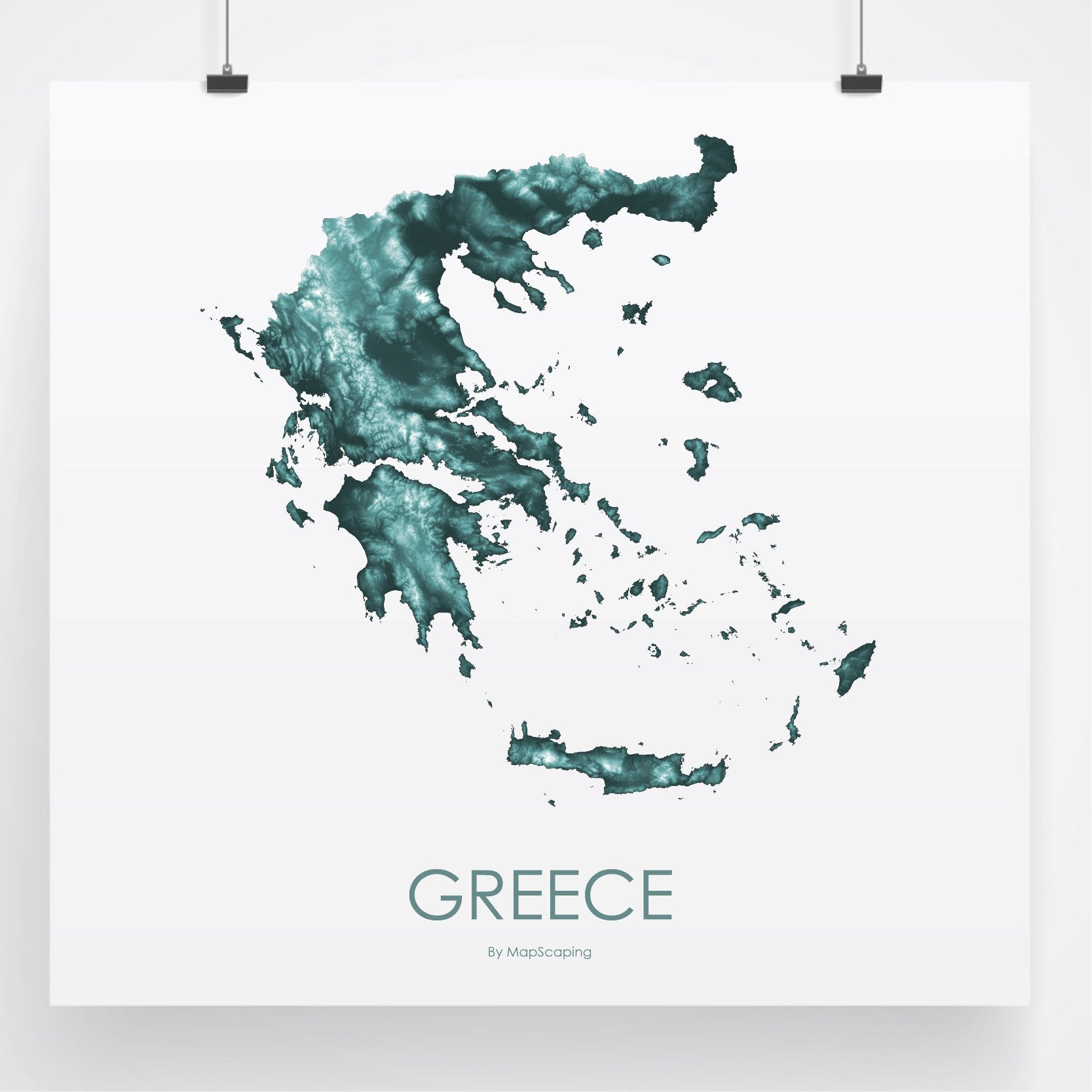 Greece topographic wall art map - MapScaping.com -Topographic map art