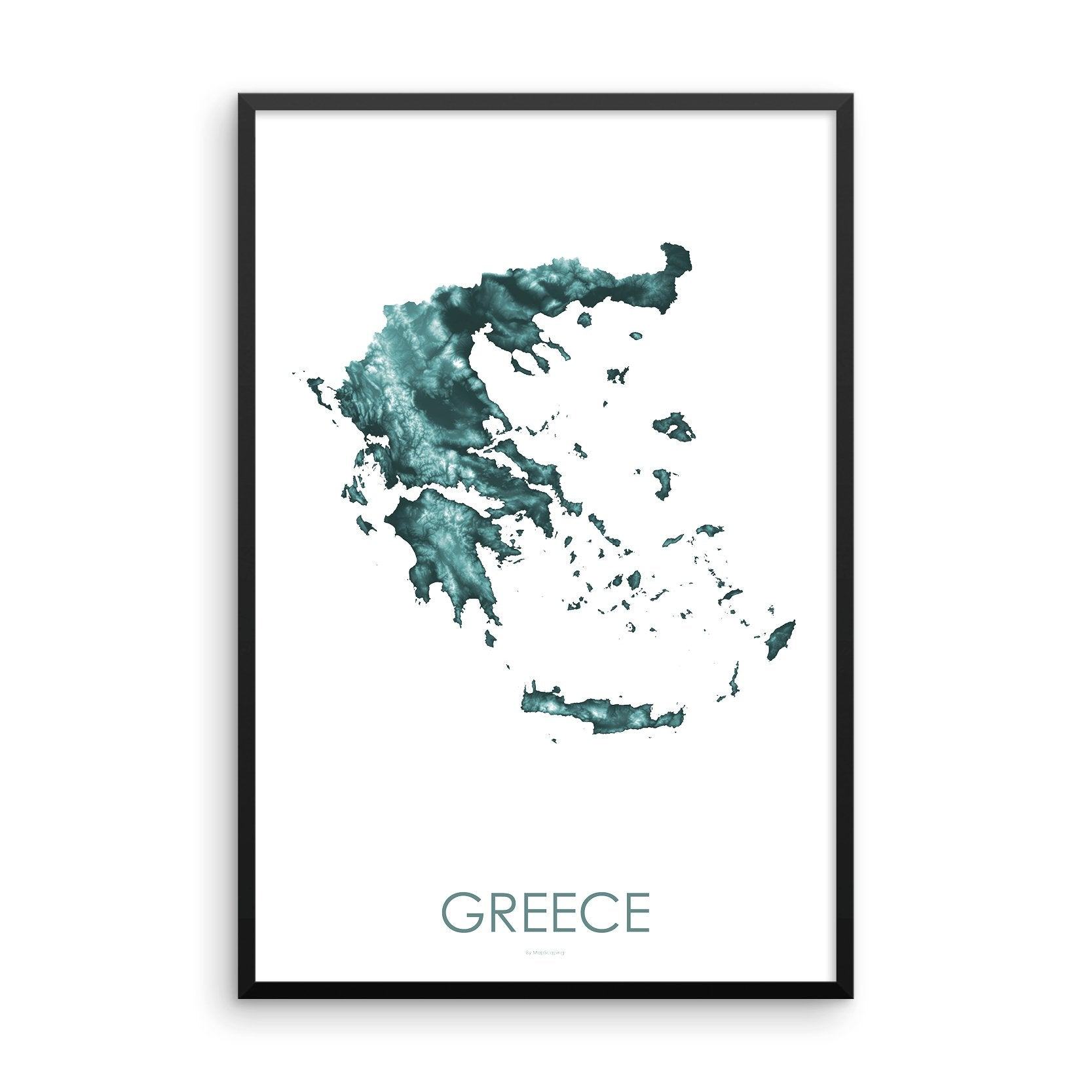 Greece Map Teal-Topographic Map