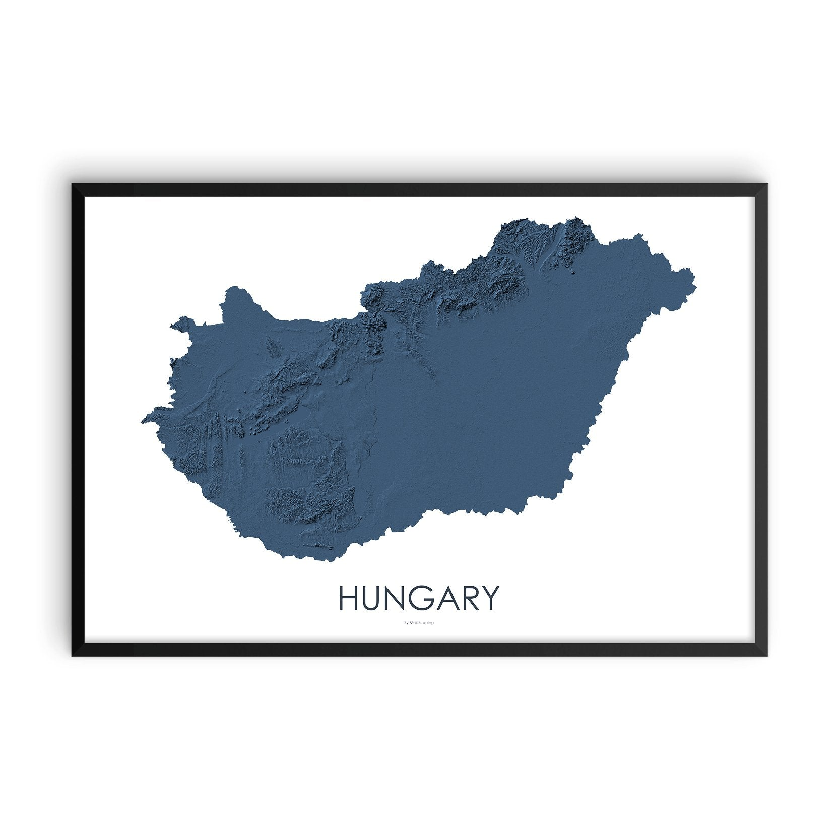 Hungary Map 3D Midnight Blue-Topographic Map