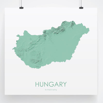 Hungary Map 3D Mint-Topographic Map