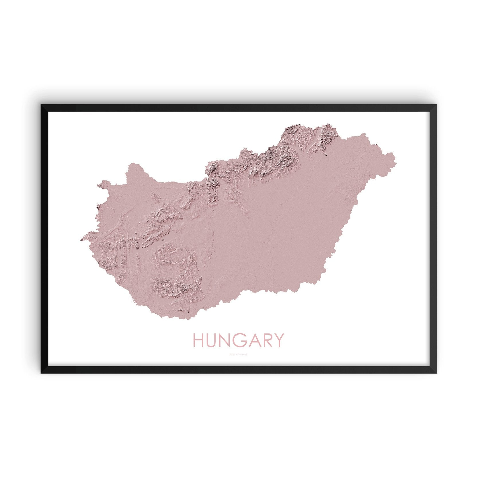 Hungary Map 3D Rose-Topographic Map