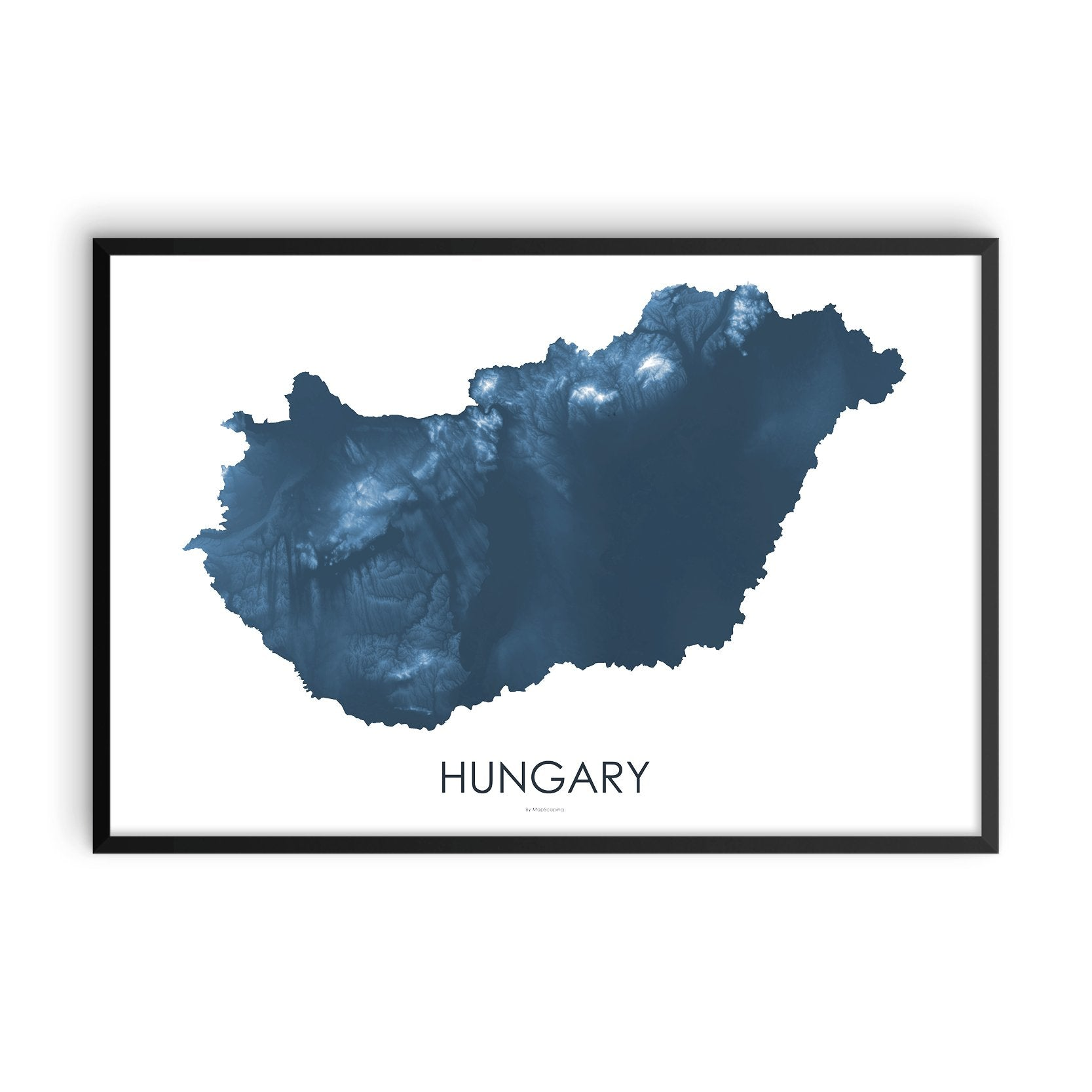 Hungary Map Midnight Blue-Topographic Map