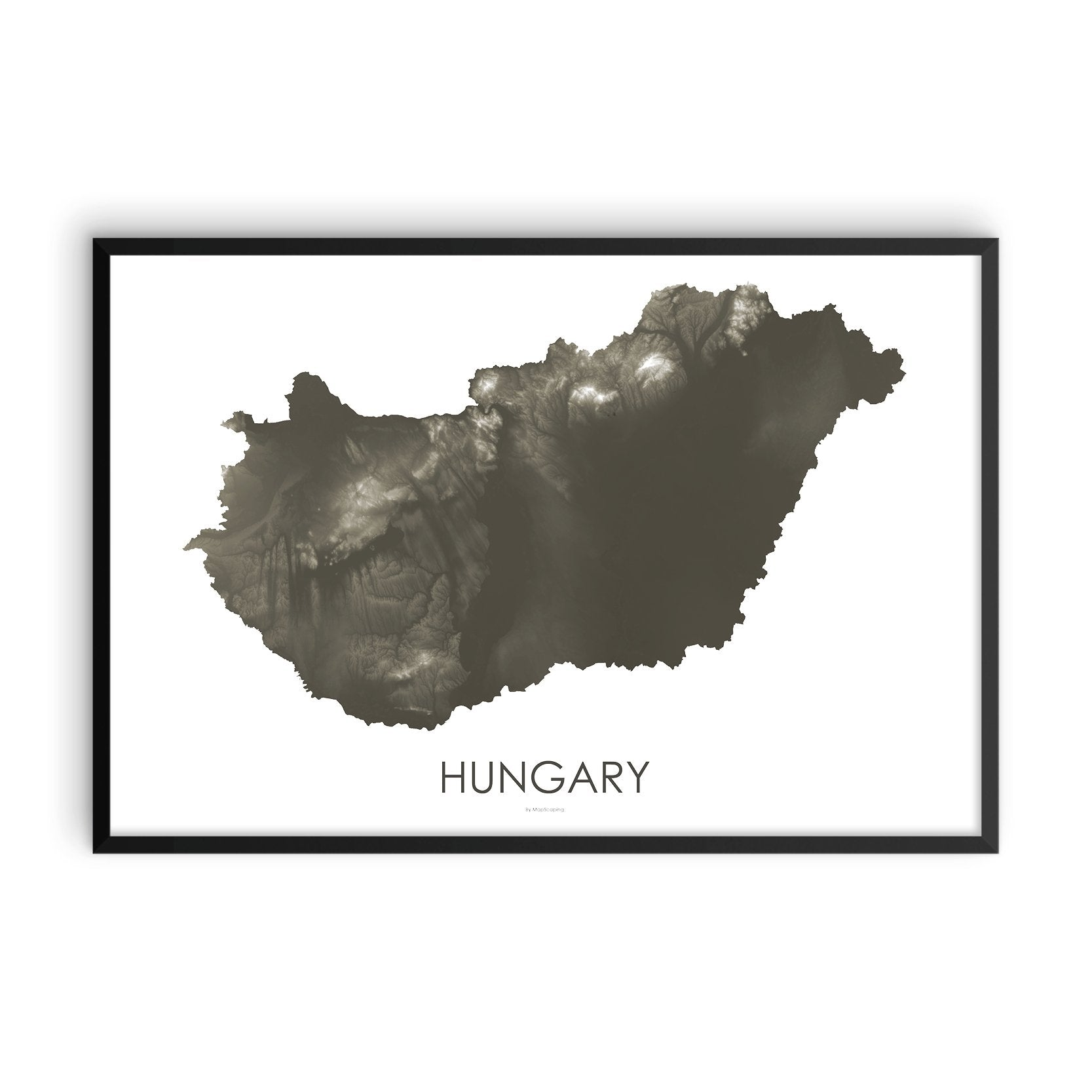 Hungary Map Slate-Topographic Map