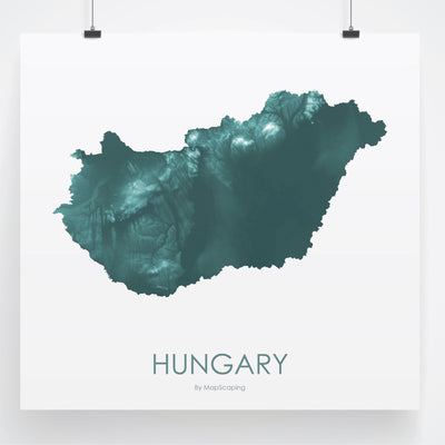 Hungary Map Teal-Topographic Map