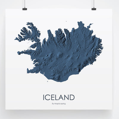 Iceland Map 3D Midnight Blue-Topographic Map