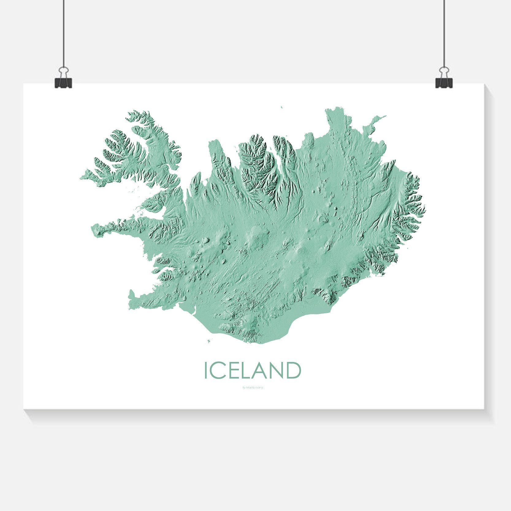 Iceland Poster Solid Mint -Topographic map art by MapScaping