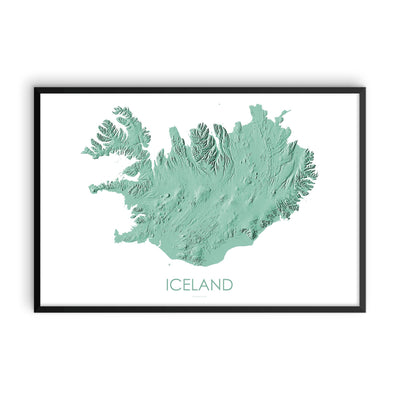 Iceland Map 3D Mint-Topographic Map