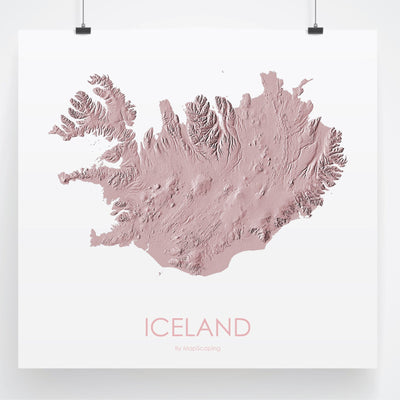 Iceland Map 3D Rose-Topographic Map
