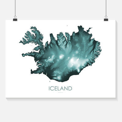 Iceland Map teal-Topographic Map