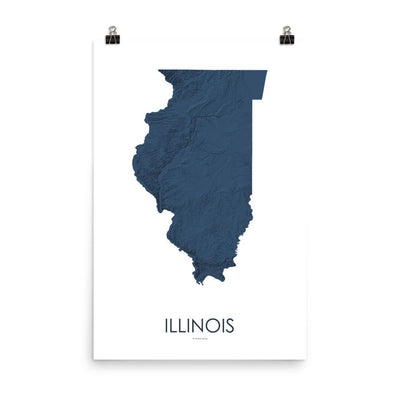 "Illinois Poster 3D Midnight Blue-18""×24"" - 45.72cm x 60.96cm-topographic wall art map by MapScaping"