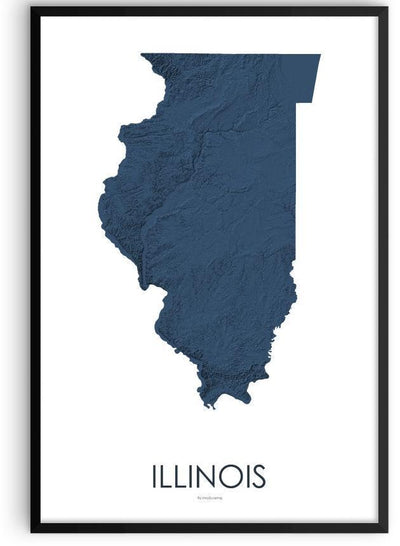 Illinois Poster 3D Midnight Blue-topographic wall art map by MapScaping