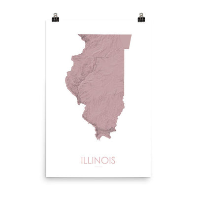 "Illinois Poster 3D Rose-18""×24"" - 45.72cm x 60.96cm-topographic wall art map by MapScaping"