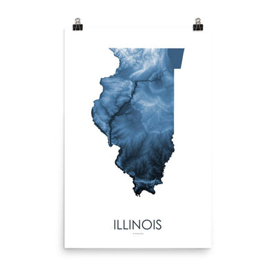 "Illinois Poster Midnight Blue-18""×24"" - 45.72cm x 60.96cm-topographic wall art map by MapScaping"
