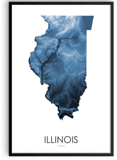 Illinois Poster Midnight Blue-topographic wall art map by MapScaping