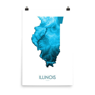 "Illinois Poster Petroleum Blue-18""×24"" - 45.72cm x 60.96cm-topographic wall art map by MapScaping"