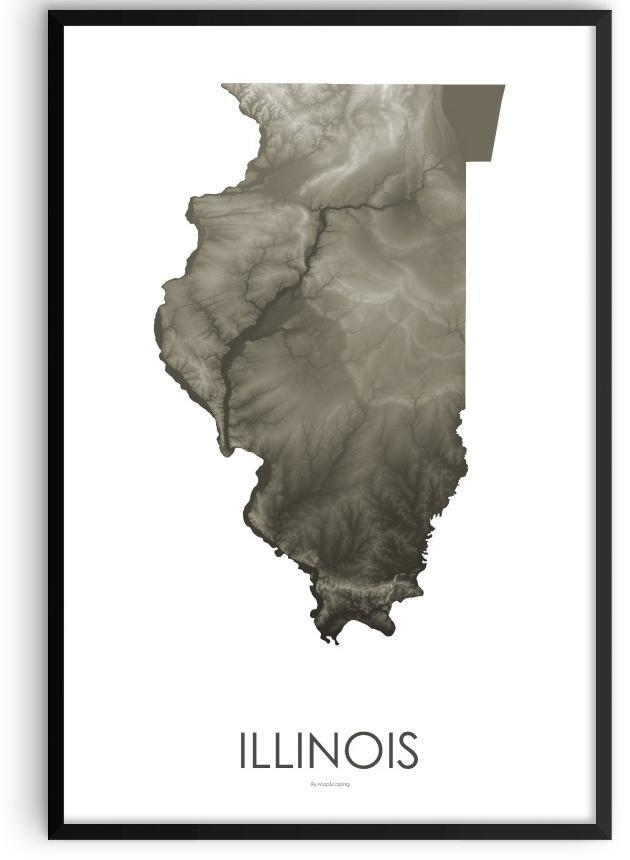 Illinois Poster Slate-topographic wall art map by MapScaping