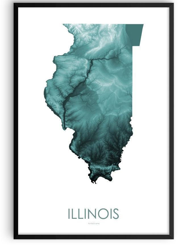 Illinois Poster teal-topographic wall art map by MapScaping