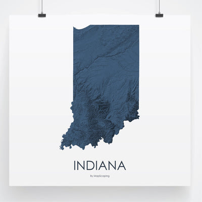 Indiana Map 3D Midnight Blue-Topographic Map