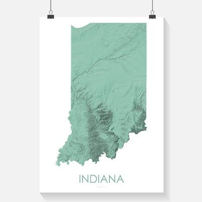Indiana Map 3D Mint-Topographic Map