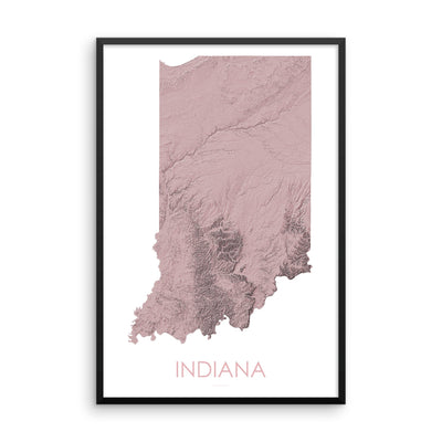 Indiana Map 3D Rose-Topographic Map