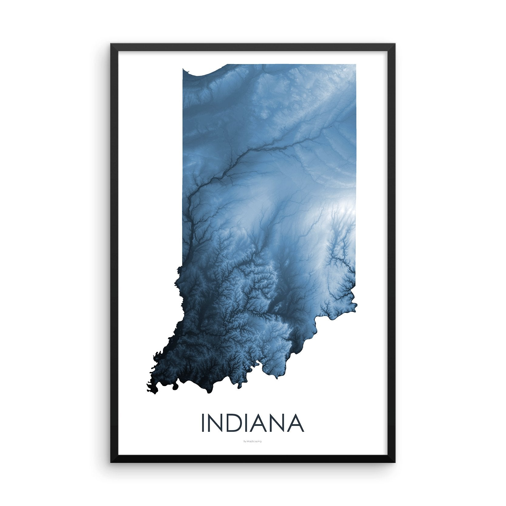 Indiana Map Midnight Blue-Topographic Map