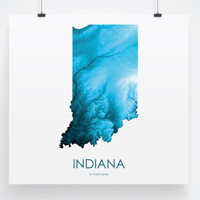 Indiana Map Petroleum Blue-Topographic Map