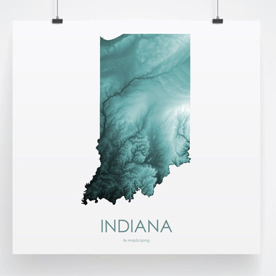 Indiana Map Teal-Topographic Map