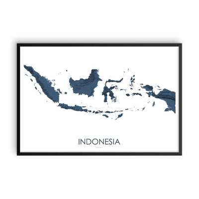 Indonesia Map 3D Midnight Blue-Topographic Map