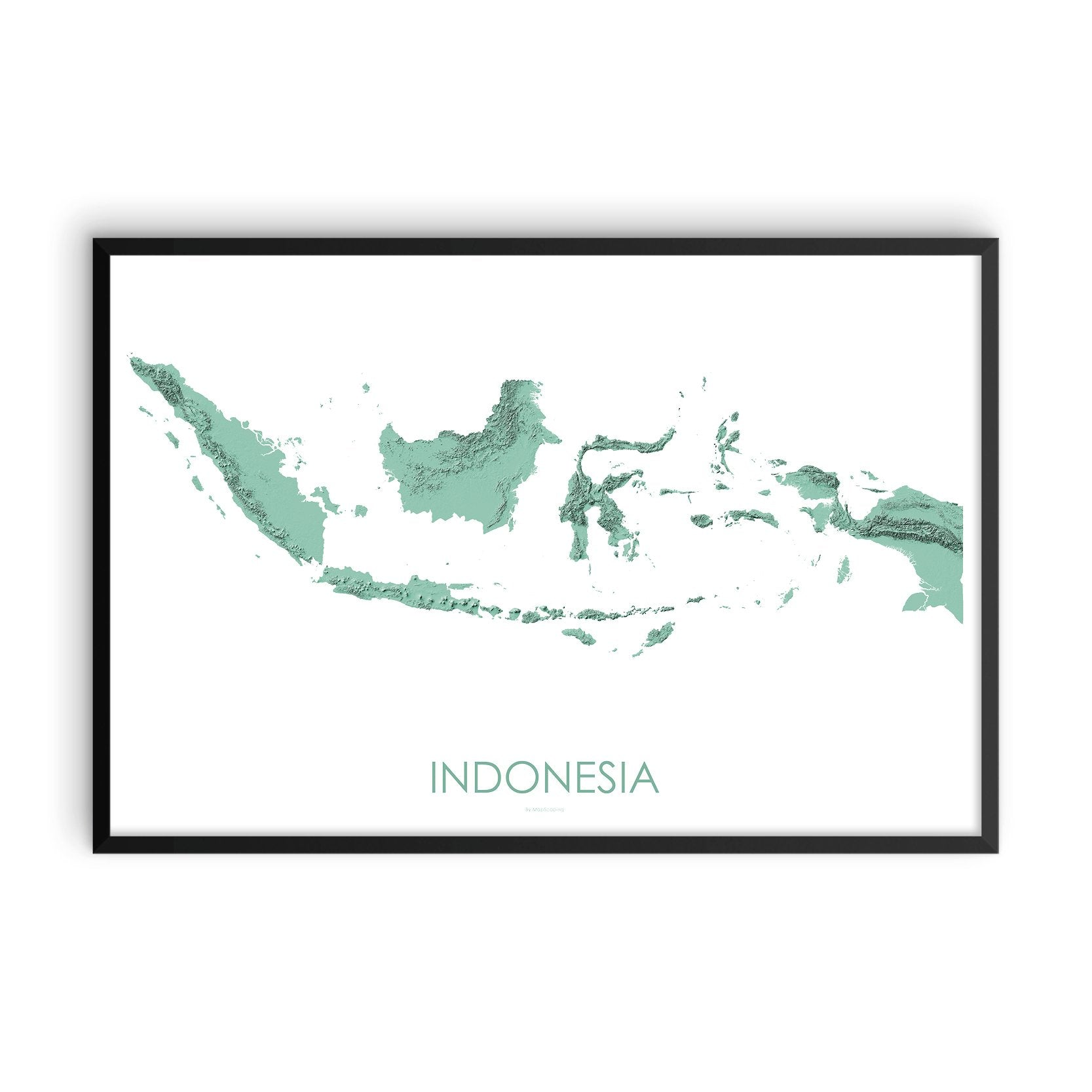 Indonesia Map 3D Mint-Topographic Map