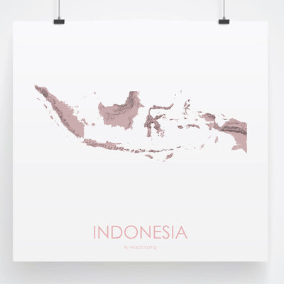 Indonesia Map 3D Rose-Topographic Map