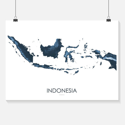 Indonesia Map Midnight Blue-Topographic Map