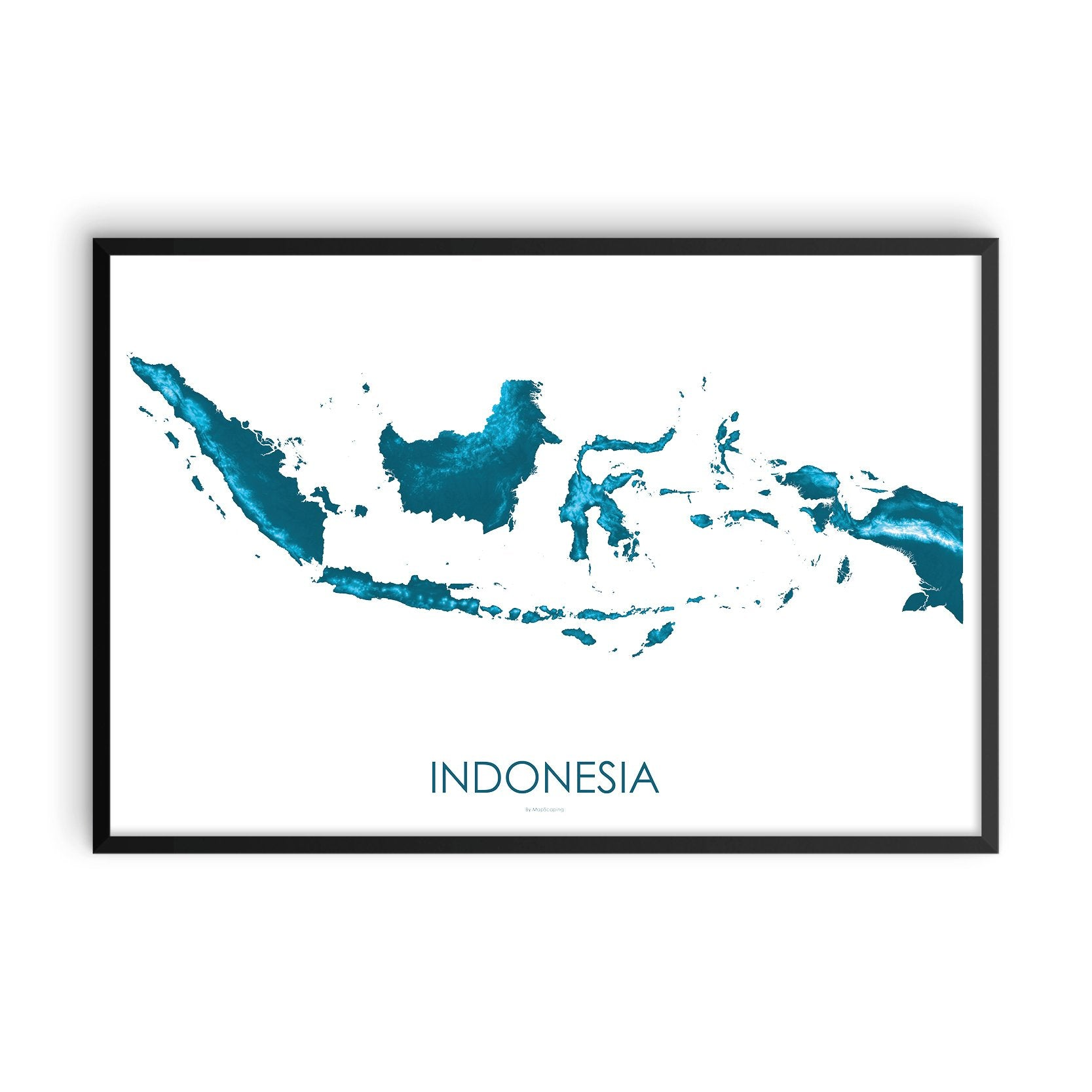 Indonesia Map Petroleum Blue-Topographic Map