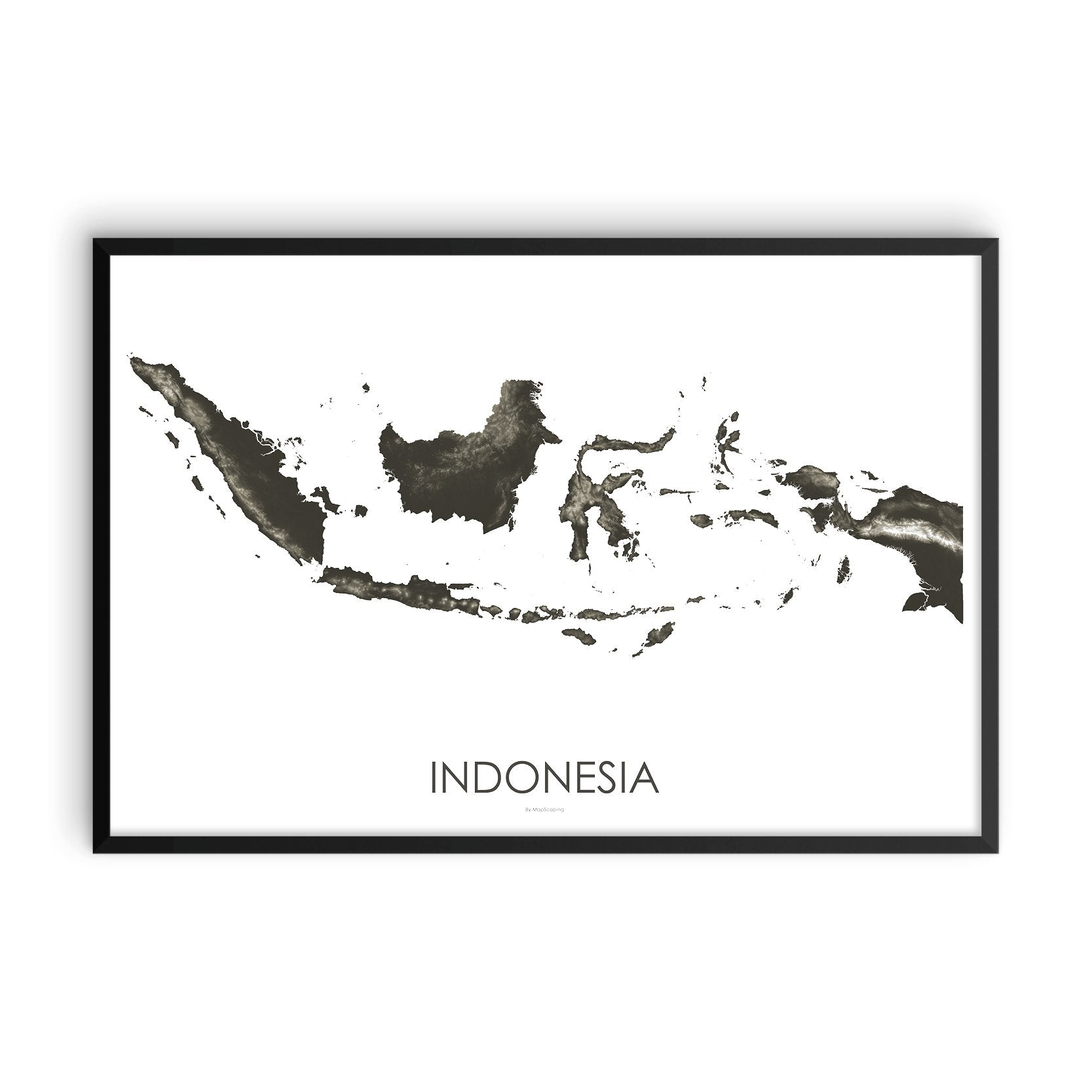 Indonesia Map Slate-Topographic Map
