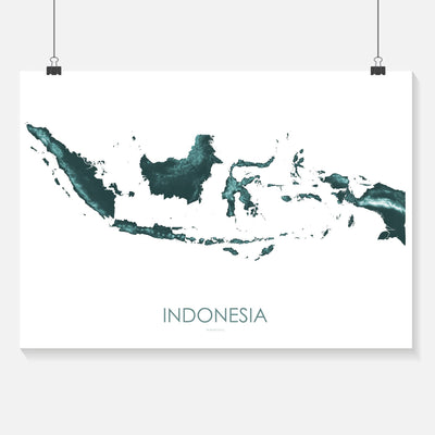 Indonesia Map Teal-Topographic Map