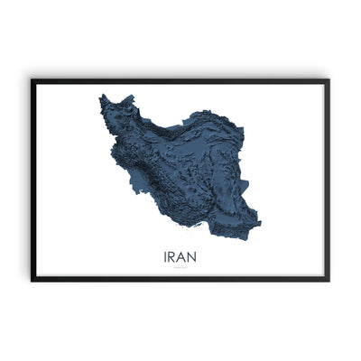 Iran Map 3D Midnight Blue-Topographic Map